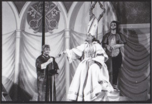 Muriel Greenspon (The Wife as Pope), David Lloyd (the Fisherman), Louisa Budd (The Cat) 1970 Image courtesy of the Sarah Caldwell Collection, Howard Gotlieb Archival Research Center at Boston University.